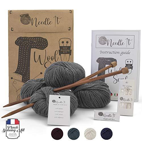 Needle It - Komplettes Strickset für Anfänger mit Stricknadeln - Strickschal aus Wolle - Geschenkidee (Grau)
