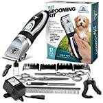 PetTech Professional Dog Grooming Kit - Rechargeable, Cordless Pet Grooming Clippers
