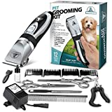 Pet Union Professional Dog Grooming Kit - Rechargeable, Cordless Pet Grooming Clippers