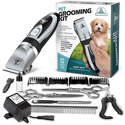 Pet Union Professional Dog Grooming Kit -Cordless & Complete Set of Dog Grooming Tools