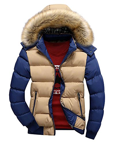 ZongSen Uomo Cappotto Casuale con Cappucio Sportiva Manica Lunga Invernale Cotone Cerniera Cachi Blu XL