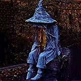 hfior Gartenstatuen, Sitzende Hexe Mit LED-Licht Gartendeko Ghul Rasenlampe Gartenfiguren Für Garten Halloween Deko