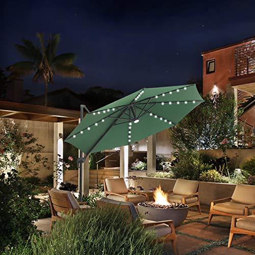 Klismos 10 FT Patio Umbrella Cantilever Umbrella with Solar LED Light 360° Rotation Hanging Umbrella with Tilt & Crank Outdoor Market Umbrella,8 Sturdy Ribs(Green)