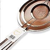 Kitchenette Set di 3 Colini in Acciaio Inox Rete Maglia Fine utili Come Setaccio per Farina, Colino Zucchero a Velo, Scolapasta Acciaio, Color Oro Rosa, Rame, Diametro 8cm, 14,5cm, 18cm