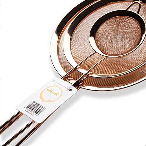 Kitchenette - Satz von 3 feinmaschigen Sieben aus Edelstahl, verwendbar als Mehlsieb, Puderzuckersieb, Stahlsieb, in Roségold, Kupfer, in Durchmessern von 8cm, 14,5cm, 18cm