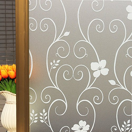 DUOFIRE Privatsphäre Fensterfolie Dekorfolie Sichtschutzfolie Ohne Kleber Selbstklebend Glas Fenster Aufkleber Anti-UV Folie (90cm X 200cm, DP014W)