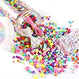 Miss Rabbit 4100pcs Round Beads, Bulk Assorted Colorful Beads, with Star and Alphabet Beads, Wax Cord and Elastic Cord Come with Bucket, for Kids Craft Jewelry Bracelet Necklace Making