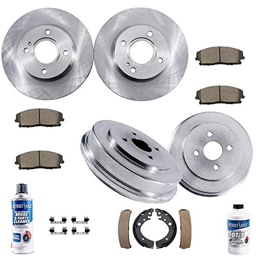 Detroit Axle - All (4) Front Brake Kit Rotors and Rear Brake Kit Drums w/Ceramic Pads and Shoes & Brake Kit Cleaner Fluid for 2001 2002 2003 2004 2005 Honda Civic L4 1.7L