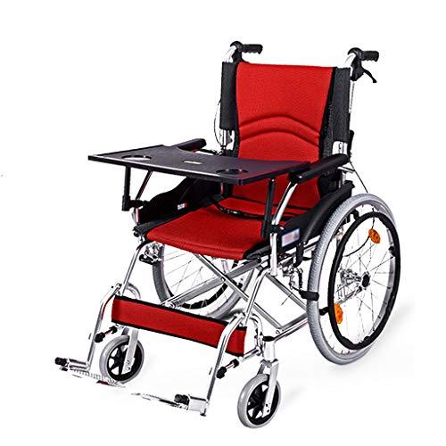 QILIN Klappbarer Rollstuhl Mit Esstischplatte, Doppelbremse, Rutschfesten Pedalen Und Kippschutz, Tragfähigkeit 100 Kg, Rot