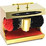 YFC - Cepillo eléctrico para zapatos de grado de hotel, ultra duradero, multicepillo, pulidor automático de zapatos para el hogar, mango de cinturón dorado portátil