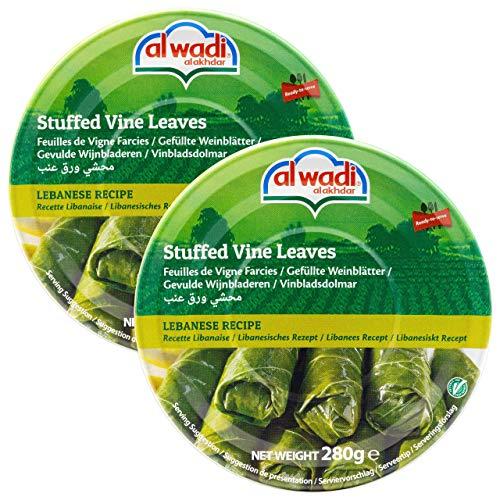 Al Wadi - vegetarisch gefüllte Weinblätter - Weinblätter nach libanesischem Rezept mit Tomate, Minze und Reis gefüllt - im 2er Set à 280 g (560 g)