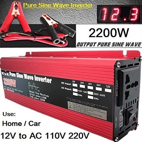 GAOLE Inversor de onda sinusoidal pura 12V / 24V a AC110V 220V 1000W 2000W 3000W Transformador de voltaje convertidor de energía inversor solar LED (Color : 12V 2200W, Output Voltage : 110V 60Hz)