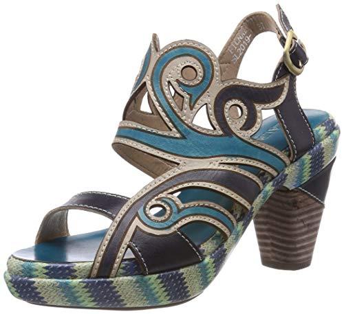 LAURA VITA Damen FICNALO 01 Peeptoe Sandalen, Blau (Jeans), 40 EU