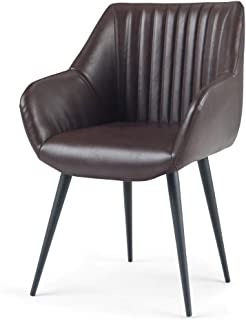 Simpli Home AXCCHR-29-CG Briar Mid Century Modern Stitched Back Dining Side Chair in Cognac Faux Leather