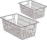 WEGAP Freezer Wire Basket Storage Organizer Bin Basket with Handles, Farmhouse Decor Vintage Style, Steel Storage for Closets, Pantry, Kitchen, Garage, Bathroom & More,Pack of 2