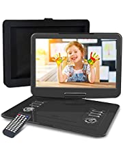 """WONNIE 16.9"""" Portable DVD/CD Player with 14.1"""" Large Swivel Screen, Car Headrest Holder, 1280 x 800 HD LCD TFT, 6 Hrs 4000mAH Rechargeable Battery, Resume Play, USB/SD Card/ AV in &Out"""