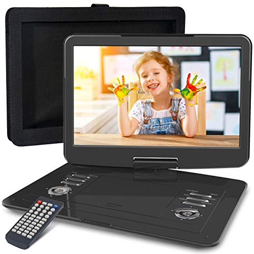 "WONNIE 16.9"" Portable DVD/CD Player with 14.1"" Large Swivel Screen, Car Headrest Case, 6 Hrs 4000mAH Rechargeable Battery, Regions Free, Support USB/SD Card/ Sync TV, High Volume Speaker"