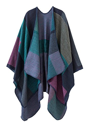 Shmily Girl Damen Poncho Herbst Winter Kariert Capes Patchwork Strickjacke Mehrere Funktion (One Size, Plaid/lila)