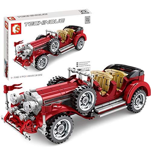 DSXX Technik Oldtimer Autos Bausteine Bausatz, 617 Teile Konstruktionsspielzeug Kompatibel mit Lego Technic