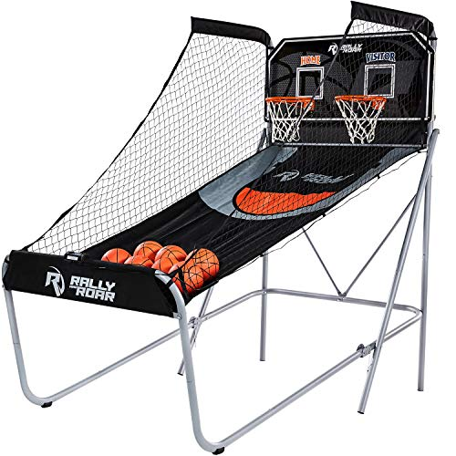 Rally and Roar Classic Shootout Basketball Arcade Game, Home Dual Shot, LED Lights and Scorer - 8-Option Interactive Indoor Basketball Hoop Game, 7 Basketballs, Pump - Foldable Space Saver