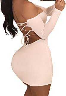 Women's Sexy Off Shoulder Backless Lace Up Club Bodycon Mini Dress