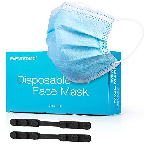 Eventronic Mascherina 50 pezzi di protezione Mascherina protettiva monouso a tre strati Maschera di protezione Filtro elastico elastico traspirante e confortevole