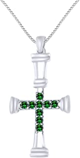 AFFY Cross Pendant Necklace in 14K White Gold Over Sterling Silver