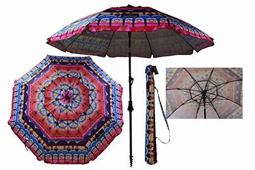 Sombrilla Crevicosta - Sombrilla con espiral, aluminio reforzado, diseño RÉtnica, 200 cm de diámetro de parasol