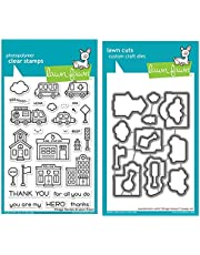 Lawn Fawn Village Heroes 4x6 Clear Stamps and Coordinating Dies, Bundle of 2 Items (LF2327, LF2328)