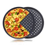 Hopma DIY Pizza Hornear Pan Portátil de Acero al Carbono Antiadherente Pizza Hornear Pan Bandeja Utensilios para hornear Casa Herramienta de Cocina Accesorios