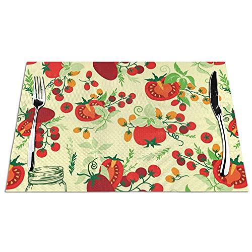 Manteles Individuales Manteles de Mesa de PVC Fruta Tomate Toallitas Antideslizantes Resistentes al Calor Manteles Individuales para Cocina Comedor Restaurante Café Juego de 6