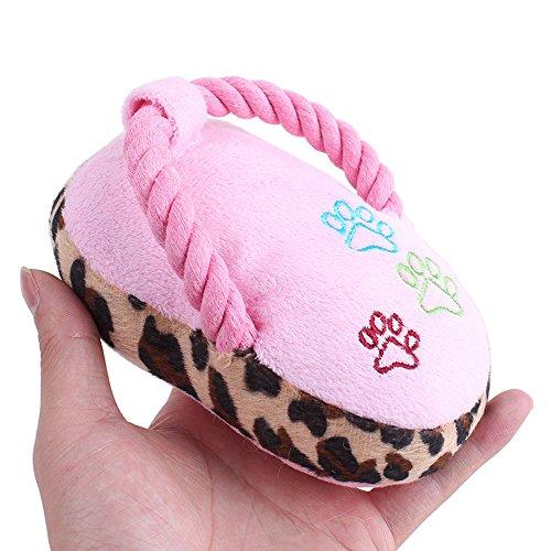 Yowablo Pet Kauspielzeug Quietschen Plüsch süßes Spielzeug Leopard Pantoffeln (17cm,Rosa)