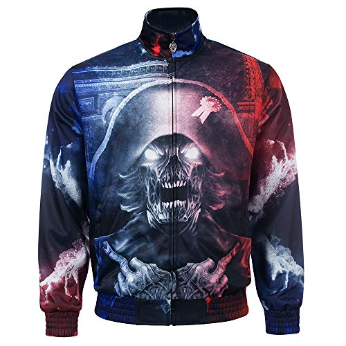 Frenchcore Print Trainingsjacke The Leader, Hardcore Techno Gabber Sportjacket Oldschool (L)