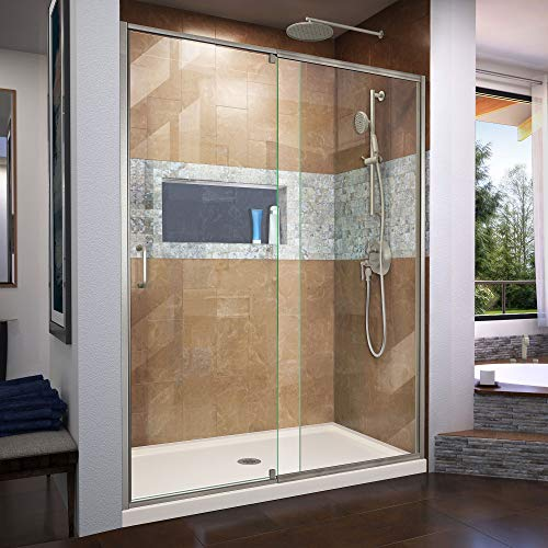 Flex 36 in. D x 60 in. W x 74 3/4 in. H Semi-Frameless Shower Door in Brushed Nickel with Center Drain Biscuit Base Kit - DreamLine DL-6225C-22-04