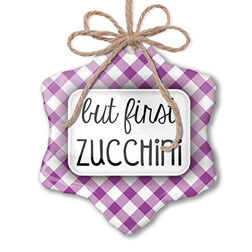 NEONBLOND Christmas Ornament But First Zucchini Funny Saying Purple Plaid