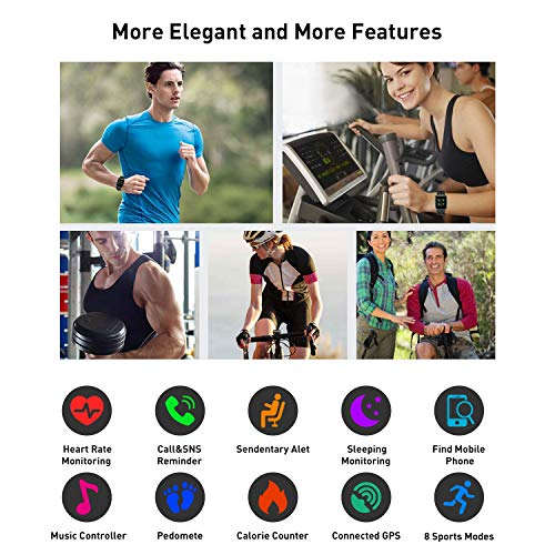 SmartWatch Fitness Tracker,Fitness Armband mit herzfrequenz,Smart Watch IP68Wasserdicht Fitness Uhr,Voller Touchscreen mit Musiksteuerfunktion Schlafmonitor für IOS Android Damen Herren Kinder