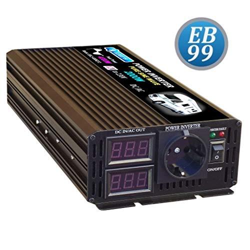 ELBOX99 Inversor 2000W 4000W 12V Convertidor De Onda SENOIDAL Pura 12V to 230V Pure Sine Wave Inverter Schuko Socket Outlet