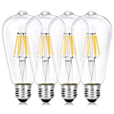 Wedna E27 6 W Bombilla decorativa LED con filamento, ST64 Blanco cálido Edison Bombillas, equivalente a 60 W, estilo vintage, No regulable, 4 Piezas
