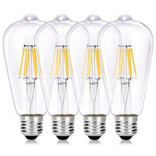 Wedna E27 6 W Bombilla decorativa LED con filamento, ST64 Blanco cáli