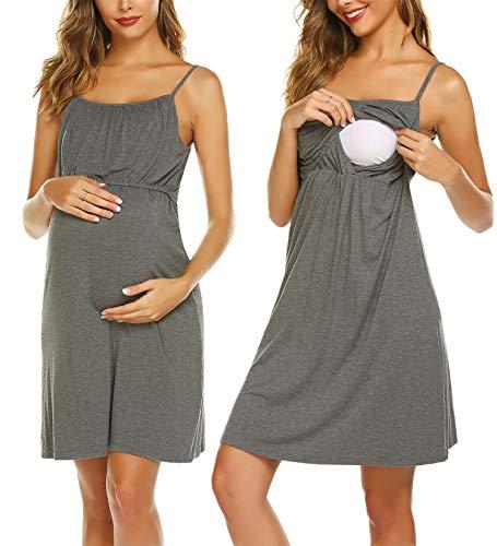 Unibelle Schwanger Nachthemd Pyjama Zum Stillen Negligee Modal Umstandsnachthemd Geburtskleid Stillnachthemd Grau M