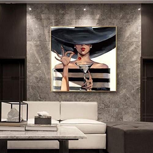 Chica con Sombrero Negro Pinturas de Lienzo en la Pared Labios Rojos Pop Art Impresiones de Lienzo Modelo Moderno Lienzo Cuadros Decoración de Pared con 60x100 cm