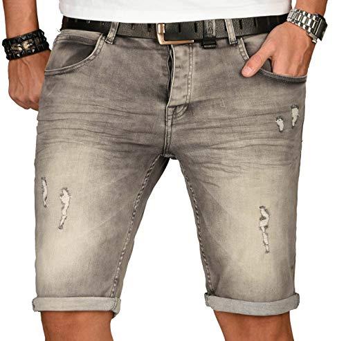 A. Salvarini Herren Designer Jeans Short Kurze Hose Slim Sommer Shorts Washed [AS-150-W30]