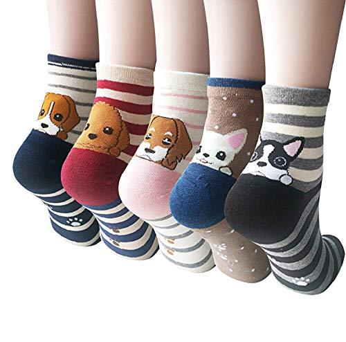 5 Pairs Womens Cute Dog Cat Fun Cartoon Cotton Casual Crew Funny Animal Socks (A-01 dog socks)