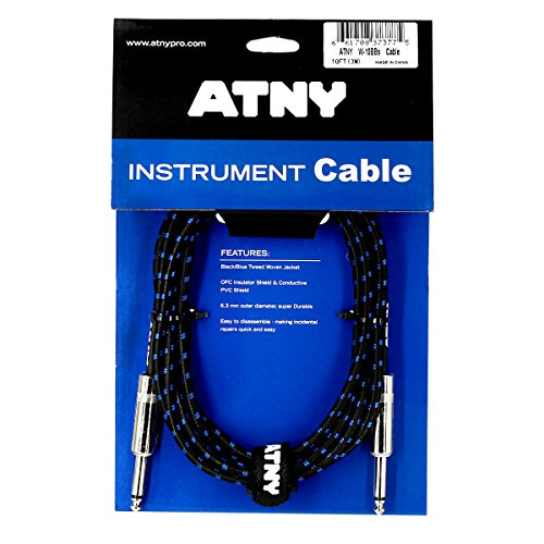 ATNY Braided Electric Guitar Cable – Professional Grade Musical Instrument Amplifier Cord with Nickel-Plated Dual Straight Plugs and Blue Tweed Jacket [10 Feet]