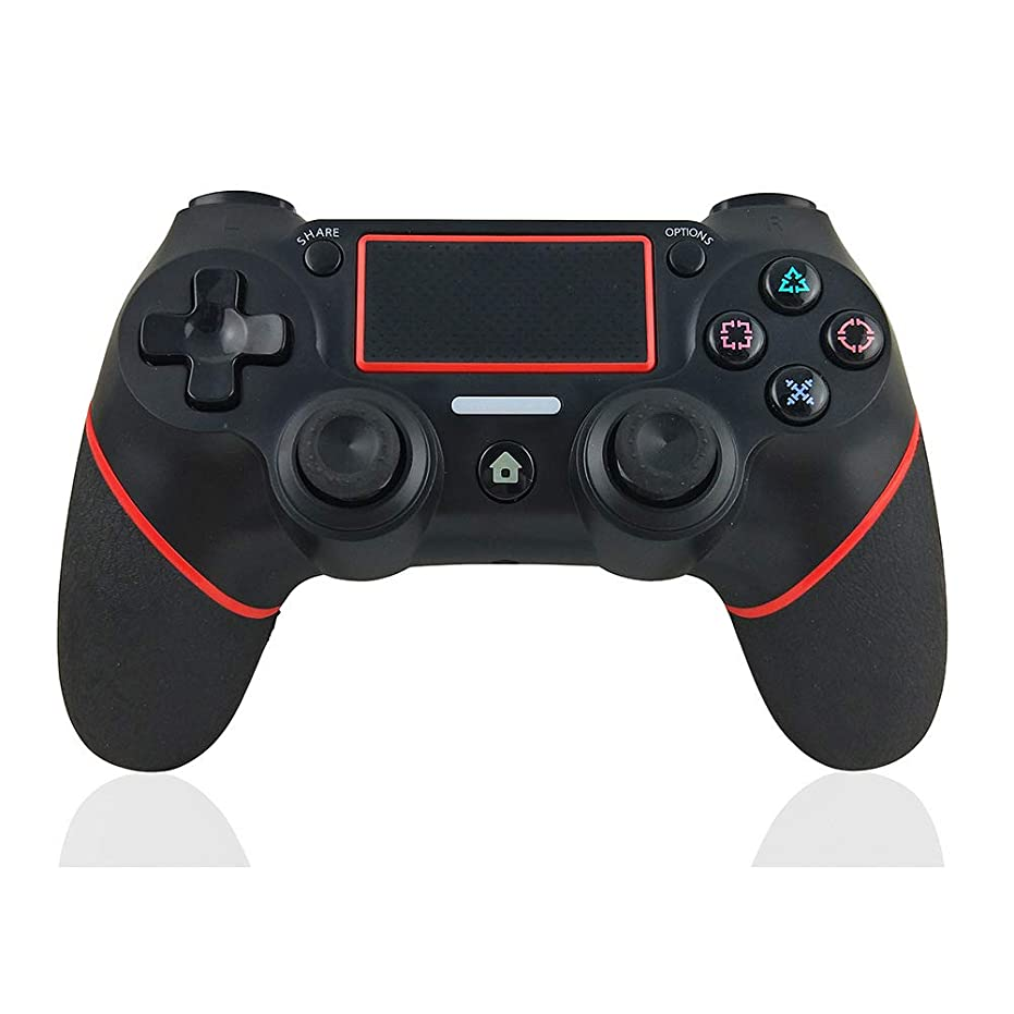 のため権利を与える欠陥Alician PS4用USBワイヤレスBluetoothコントローラーゲームパッド ブラックレッド