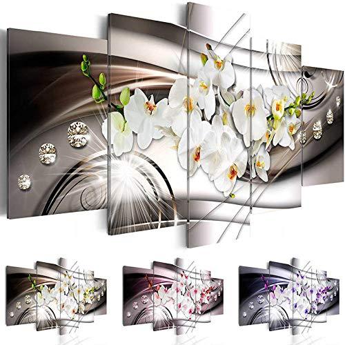 h a Leinwanddruck Bild Bild Modulare Home Wandkunst 5 Stück Orchidee Blumenmalerei Schlafzimmer Dekoration Rosa Lila und Grün Pflanze Poster Vliesstoff mit Rahmen Pentas HA