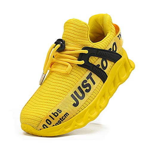 WOHHHW Boys Girls Running Toddler Shoes Baby Boy Tennis Shoes Lightweight Breathable Sport Athletic Non-Slip Fashion Sneakers for Little Kids/Big Kids Yellow