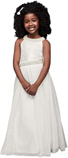 Maxi Mikado Flower Girl/Communion Ball Gown with Pearls Style SC319D02QL9K