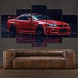 WKXZZS Art Enlienzo Póster Nissa GT-R R34 Skyline Sports Car 5 Piezas Pared Mural para Decoracion Cuadros Modernos Salon Dormitorio Comedor Cuadro Impresión Piezasmaterial