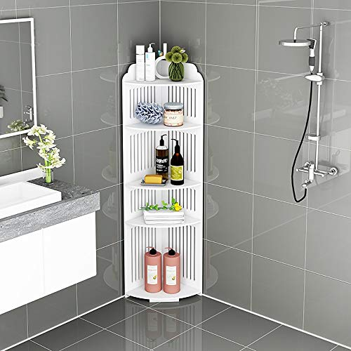 LOHOX Mueble Columna de Baño Estantería de Esquina de Ducha Armario para Baño Impermeable Estante de Almacenamiento Blanca sobre Patas para Dormitorio, Cocina o Armario